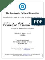 President Obama reception invitation 2015