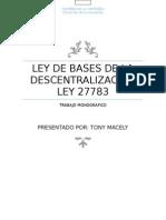 Ley de Bases de La Descentralizacion Ley 27783 trabajo