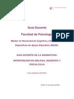 Intervención en Dislexia, Disgrafía y Discalculia M Neuro 13-14