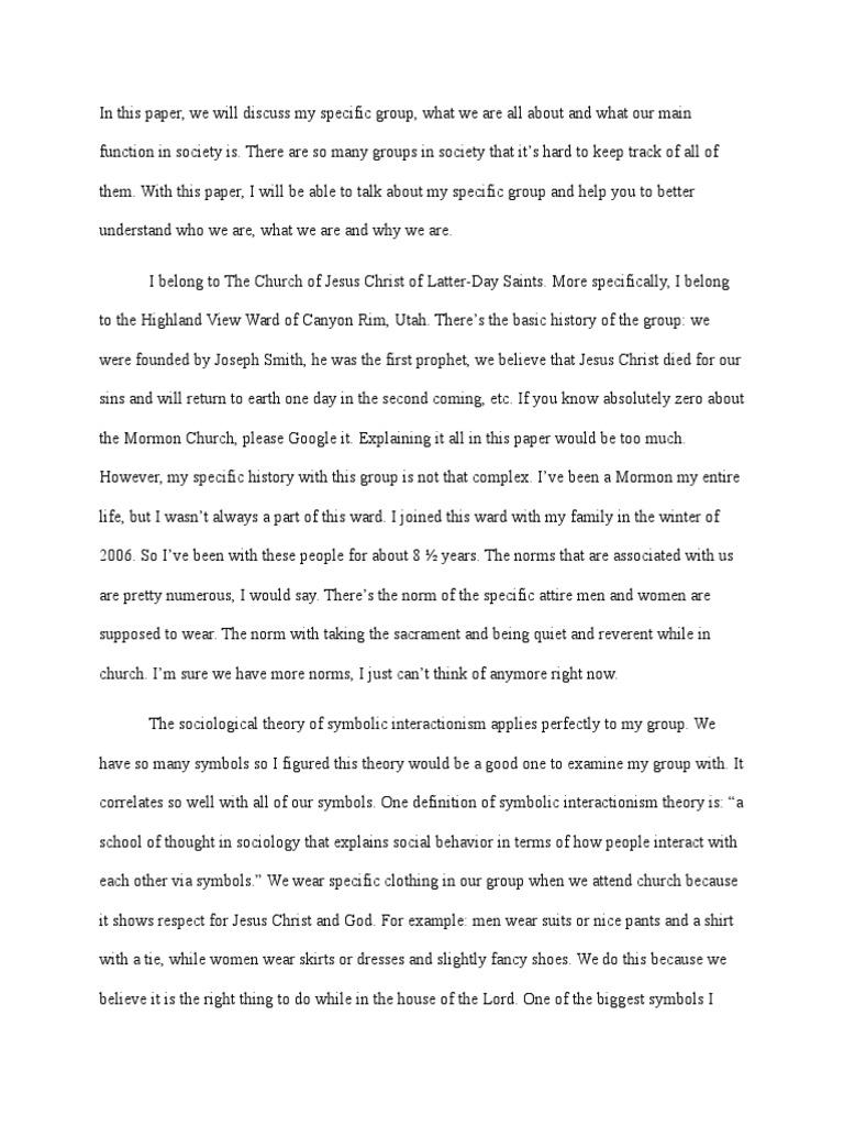 Sociological Imagination Paper Baptism The Church Of Jesus