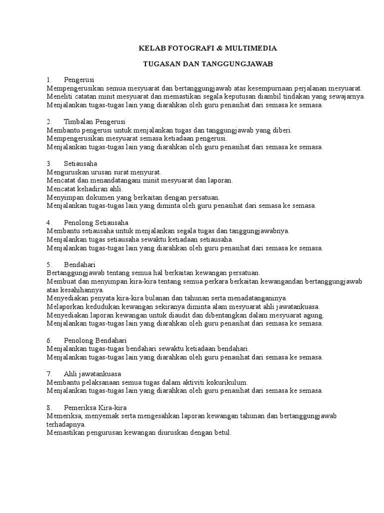 Senarai Tugas Ajk Kelab Fotografi Majalah Sekolah