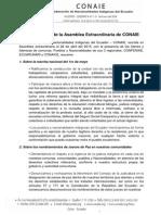 Resoluciones Asamblea Extraordinaria de CONAIE