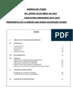 Pleno del jueves 30 de abril de 2015