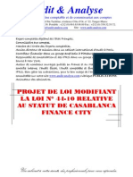 Projet de Loi Modifiant La Loi n 44 10 Relative Au Statut de Casablanca Finance City