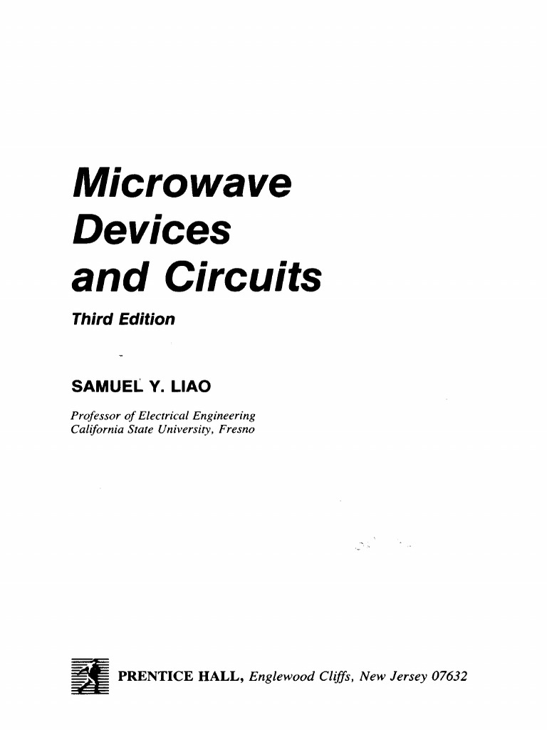 Microwave Devices And Circuits Samuel Liao Waveguide Waves Electronic Salivahanan Pdf Free Download