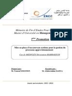 22 Juin PFE Zouiten Youssef (Mise en Place d'Un Nouveau Système p Our La Gestion Du Processus Approvisionnement)