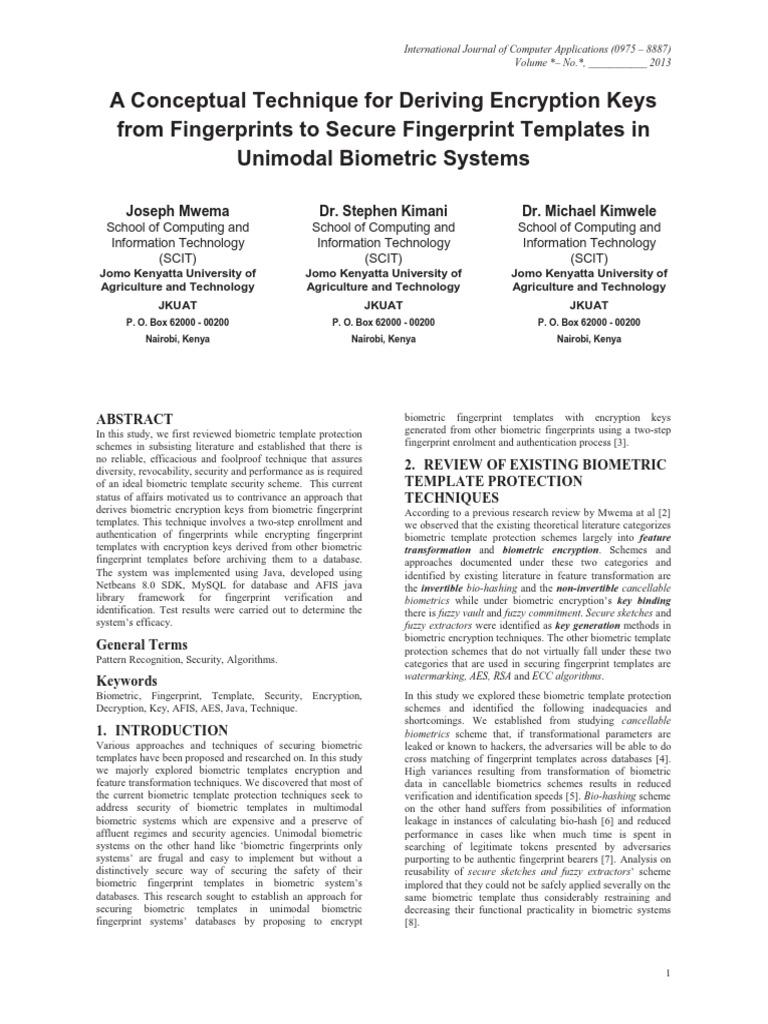 Secure Fingerprint Templates Biometrics Fingerprint