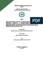 NIVEL DE DOMINIO Y USO DE LAS TECNOLOGÍAS POR PARTE DEL PERSONAL DOCENTE Y ADMINISTRATIVO DEL CENTRO EDUCATIVO ISABEL LA CATÓLICA DEL MUNICIPIO DE CAYETANO GERMOSÉN EN EL DISTRITO EDUCATIVO 06-06 DE MOCA, EN EL PERIODO MARZO-JUNIO DEL 2014.