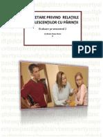Cercetare Privind Relaţiile Adolescenţilor Cu Părinţii