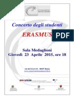 Locandina Concerto Degli Studenti Erasmus 23-04-2015