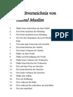 Hisnul Muslim Inhaltsverzeichnis
