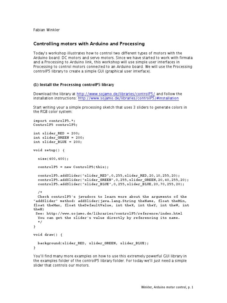 Processing Motor Control | Arduino | Servomechanism