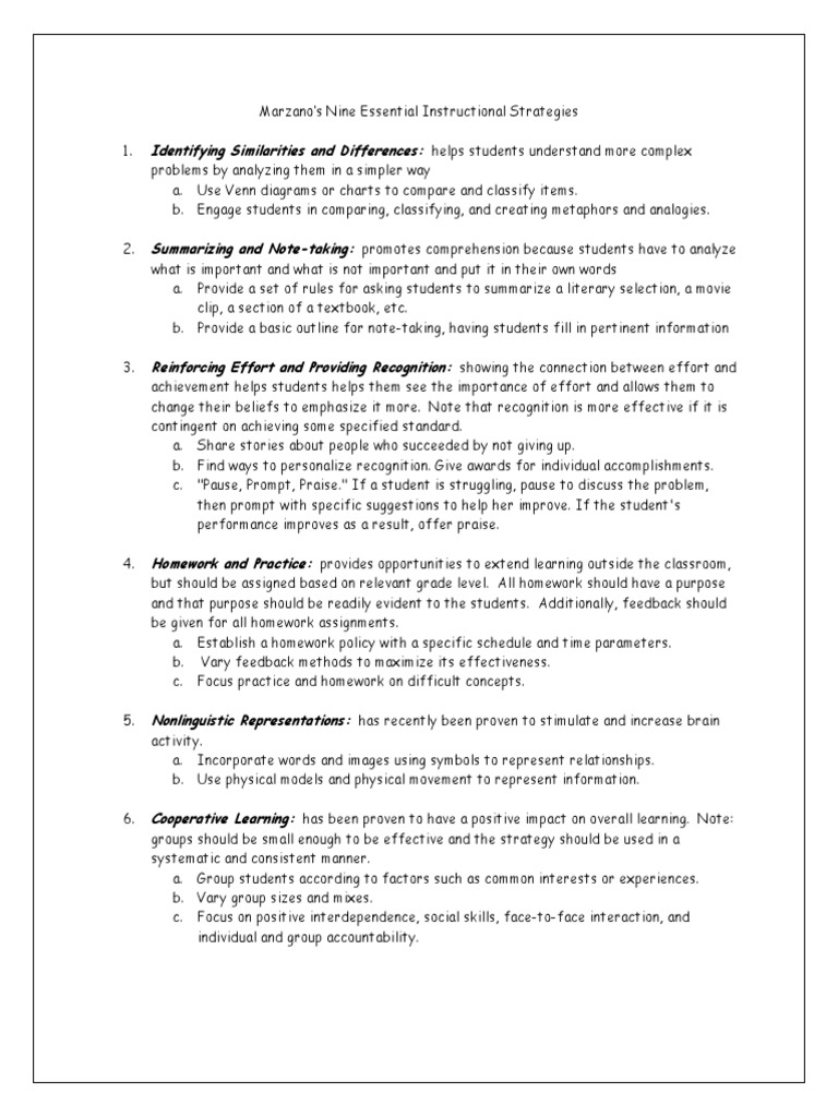 Marzanos Nine Essential Instructional Strategies Homework