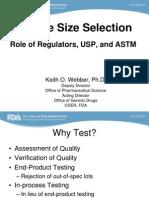 Sample Size Selection-USP - FDA - ASTM