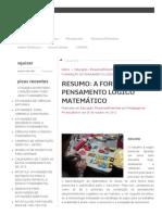 Resumo_ a Formação Do Pensamento Lógico Matemático
