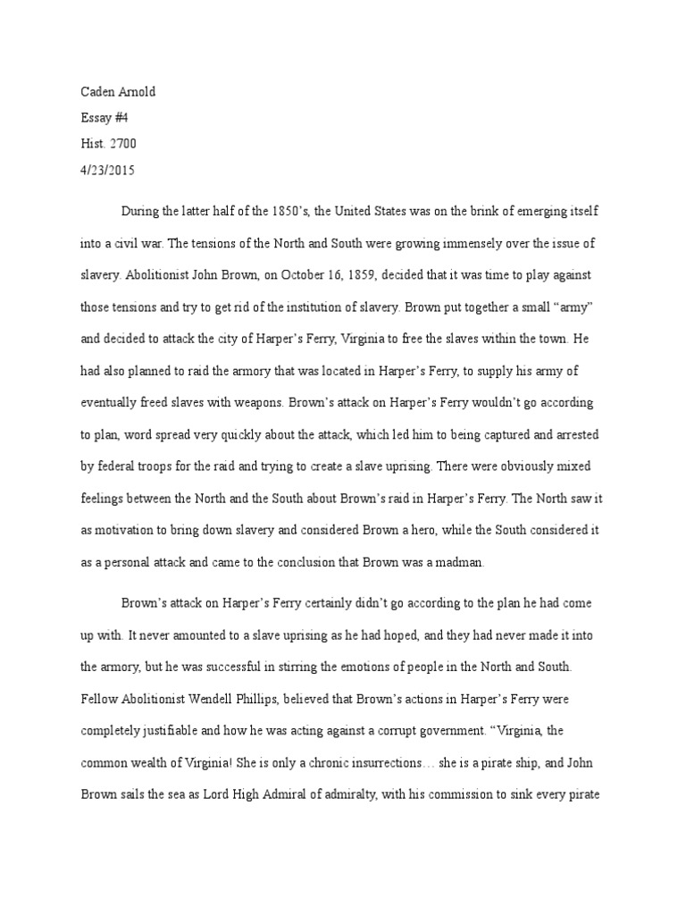 Persuasive Essay Thesis Statement Essay  Hist   John Brown Abolitionist  Abolitionism In The United  States Essay On Business Ethics also Essay Writing Examples For High School Essay  Hist   John Brown Abolitionist  Abolitionism In The  Sample High School Essays