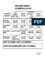 First Semester Schedule (SY2015-2016)