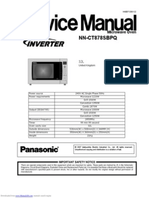 Panasonic microwave nnct878 Service manual | Switch | Power