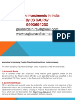 How to Invest in India via Fdi CS GAURAV 9990694230