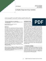 Natural Gas Transmission Pipeline Temperature Drop Calculation