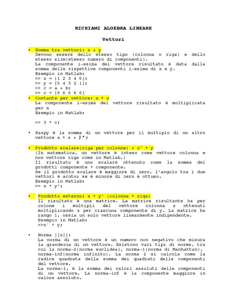 Prodotto Riga Per Colonna.Richiami Algebra Lineare Vector Euclidiano Norma