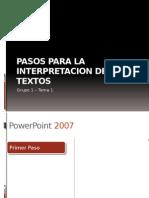 Pasos Para La Interpretacion de Textos Ingles