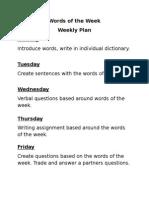 words of the week plan