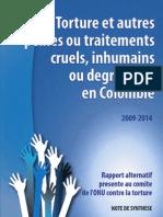 Torture et autres peines ou traitements cruels, inhumains ou degradants en Colombie Rapport alternatif presente au comite de l'ONU contre la torture