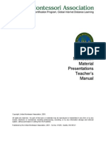 Montessori Material Presentations Teacher's Manual