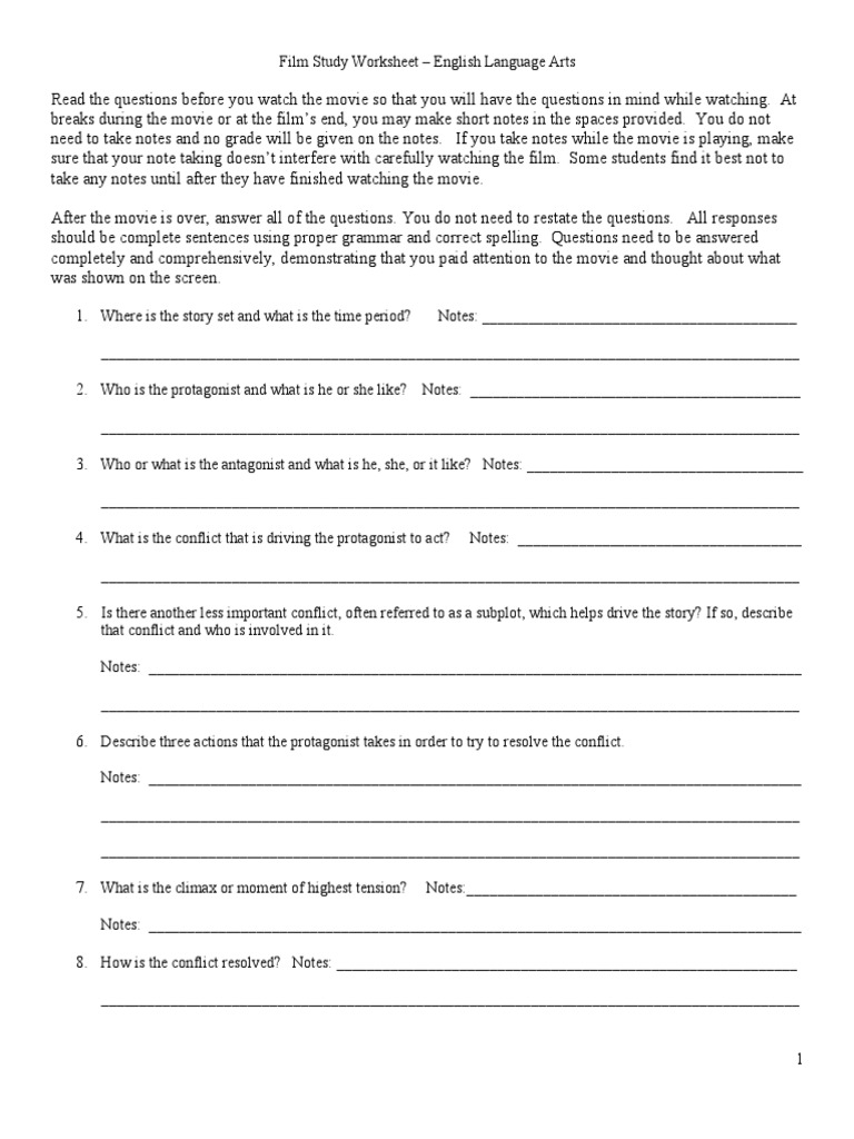 study worksheet Language Arts Questions