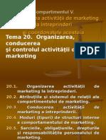 Organizarea, conducerea  şi controlul activităţii de marketing