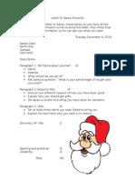 letter to santa checklist and rubric