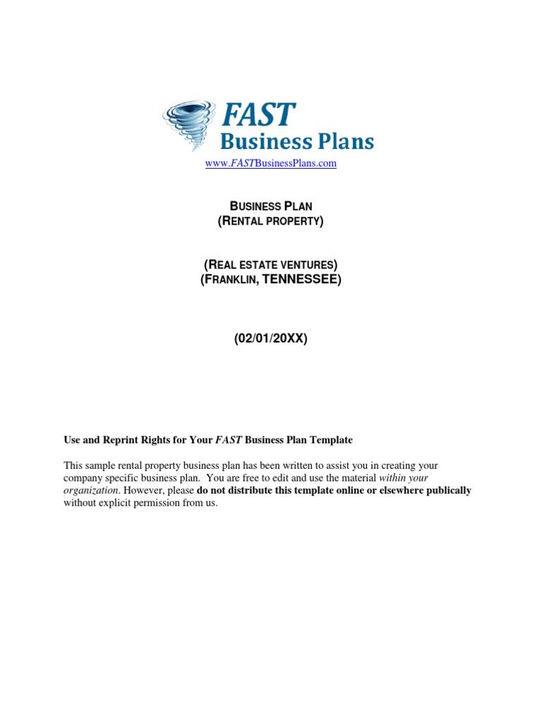 Real estate rental business plan student sample essay