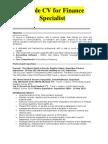 Finance Specialist Sample CV