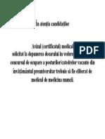 Anunt Certificat Medical
