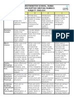 ar 1 - descriptive writing rubrics
