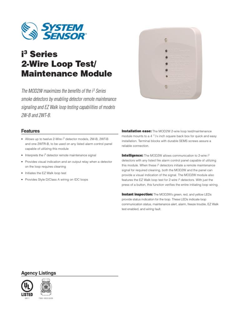 System Sensor Mod2w Data Sheet Electrical Wiring Electromagnetism Loop In