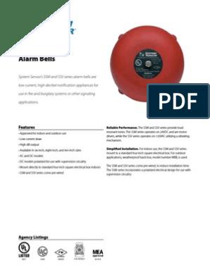 "System Sensor SSM24-8 8/"" 24VDC Alarm Bell Fire Gong"