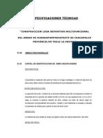 Especificaciones Técnica de Losa Deportiva Multifuncional