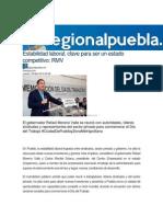 30-04-2015 Regional Puebla-mx - Estabilidad Laboral, Clave Para Ser Un Estado Competitivo, RMV