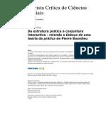 Da estrutura prática à conjuntura interactiva – relendo o Esboço de uma teoria da prática de Pierre Bourdieu
