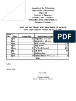 Bill of Materials( Fence Programs of Work)