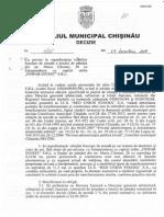Decizie a Consiliului Municipal Chisinau privind darea in arenda a unui lot de paman din str. Maria Cebotari