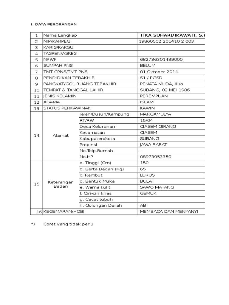 Blanko Formulir Isian Pegawai 2015