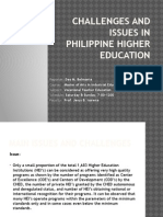 Challenges and Issues in Philippine Higher Education - Report No. 2