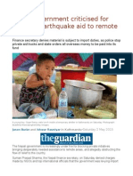 Nepal Government Criticised for Blocking Earthquake Aid to Remote Areas