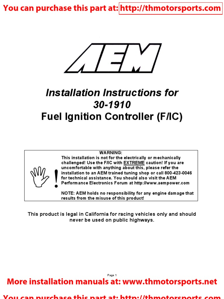 AEM 10-1910 Instructions for 30-1910 FIC | Pressure ... on