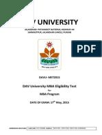 DAV University MBA Eligibility Test 2015