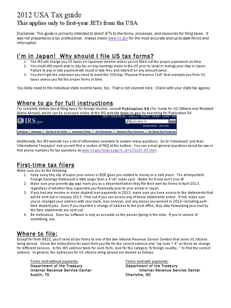 2012 Tax Guide for New JETs | Irs Tax Forms | Earned Income Tax Credit