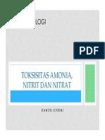 Toksisitas Amonia, Nitrit Dan Nitrat